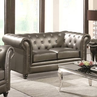Royal Mid-Century Loveseat with Crystal Button Tufting Design and Nailhead Trim