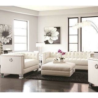 Classic Mid-Century Button Tufted Design Living Room Sofa Collection with Chrome Doorknocker Handles