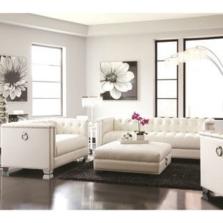 classic midcentury button tufted design living room sofa collection with chrome doorknocker handles