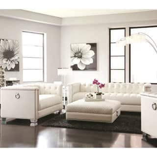 classic mid century button tufted design living room sofa collection with chrome doorknocker handles - White Living Room Furniture Sets