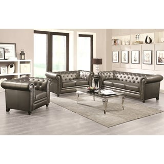 Royal Mid-Century Living Room Collection with Crystal Button Tufting Design and Nailhead Trim