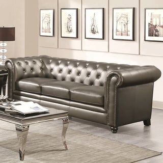 Royal Mid-Century Sofa with Crystal Button Tufting Design and Nailhead Trim