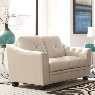 Lacasta Mid Century Modern Tufted Design Cream Living Room Love Seat