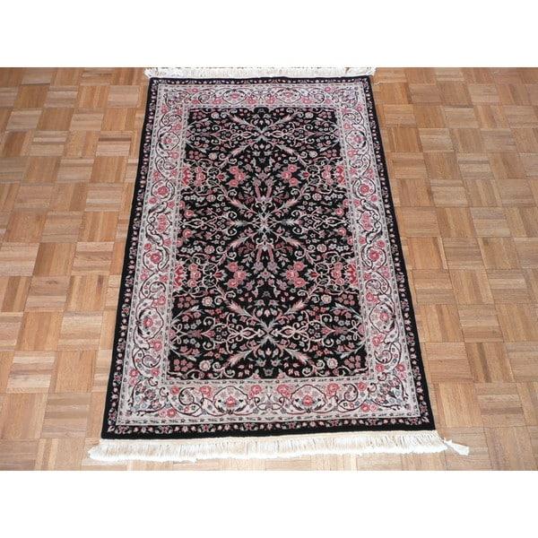 Hand-knotted Oriental Kerman Black Wool Rug (3'9 x 5'9)