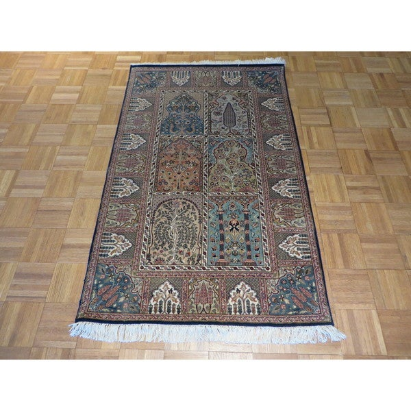 Hand-knotted Ghom Tabriz Wool and Silk Oriental Rug - 3 x 4'10