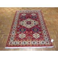 Hand-knotted Oriental Wool Kazak Rug - 4'7 x 6'4