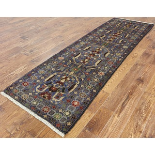 Hand-knotted Blue Wool Persian Balouch Runner (2'10 x 9'3)