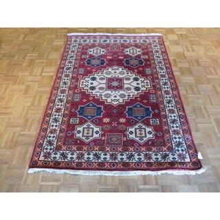 Oriental Kazak Red Wool Hand-knotted Rug (4'8 x 6'5)