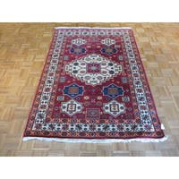 Oriental Kazak Red Wool Hand-knotted Rug - 4'8 x 6'5