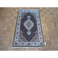 Mahi Tabriz Black Wool and Silk Hand Knotted Oriental Rug - 3' x 5'