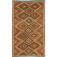 eCarpetGallery Brown Wool Handwoven Anatolian Kilim Rug - 4'9 x 8'2