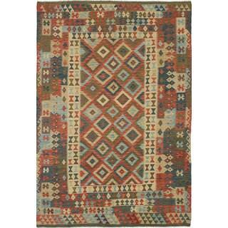 eCarpetGallery Hereke Red/Blue Wool Handwoven Kilim Rug (6'7 x 9'9)