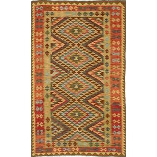 eCarpetGallery Green Wool Handwoven Anatolian Kilim (4'8 x 8'0)