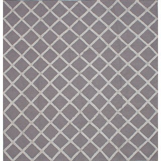 eCarpetGallery Handwoven Cambridge Grey Art Silk Kilim (8' x 8'5)
