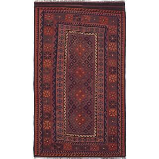 eCarpetGallery Red Wool Handwoven Qashqai Kilim (4'11 x 8'4)