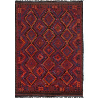 eCarpetGallery Qashqai Red Wool Hand-Woven Kilim Rug (6'6 x 9'3)