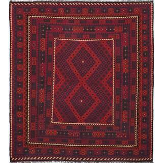 eCarpetGallery Hand-woven Qashqai Red Wool Kilim (8'5 x 9'5)
