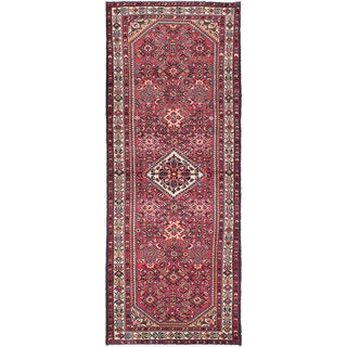 eCarpetGallery Red Wool/Cotton Hand-knotted Hosseinabad Rug (3'10 x 9'6)