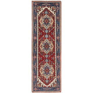 eCarpetGallery Blue/Red Wool Hand-knotted Serapi Heritage Rug (2'6 x 8'3)