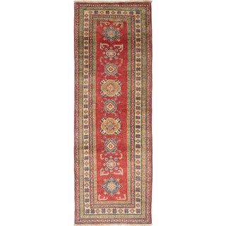 eCarpetGallery Hand-knotted Finest Gazni Green/Red Wool Rug (2'8 x 7'8)