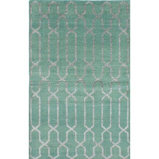 eCarpetGallery La Seda Green Wool and Art Silk Hand-knotted Area Rug (4'11 x 7'10)