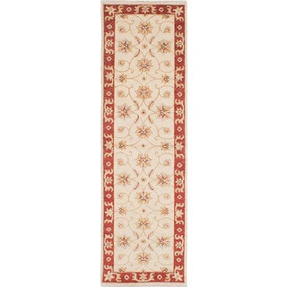 eCarpetGallery Ivory Wool Hand-knotted Chubi Collection Rug (2'4 x 7'11)