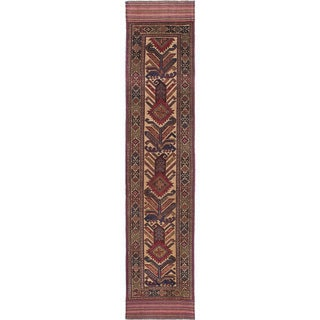 eCarpetGallery Hand-knotted Ghafkazi Ivory/Red Wool Rug - 2'6 x 12'5