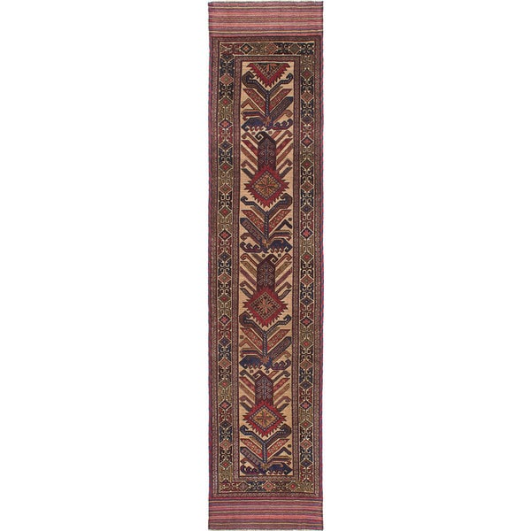 eCarpetGallery Hand-knotted Ghafkazi Ivory/Red Wool Rug (2'6 x 12'5) - 2'6 x 12'5