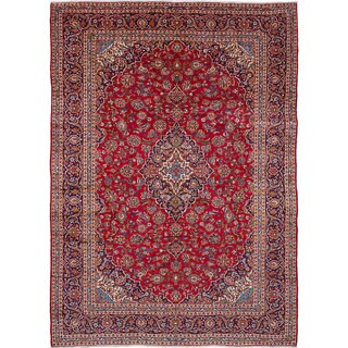 "ECARPETGALLERY Hand-knotted Kashan Red Wool Rug (9'8 x 13'7) - 9'8""x13'7"""