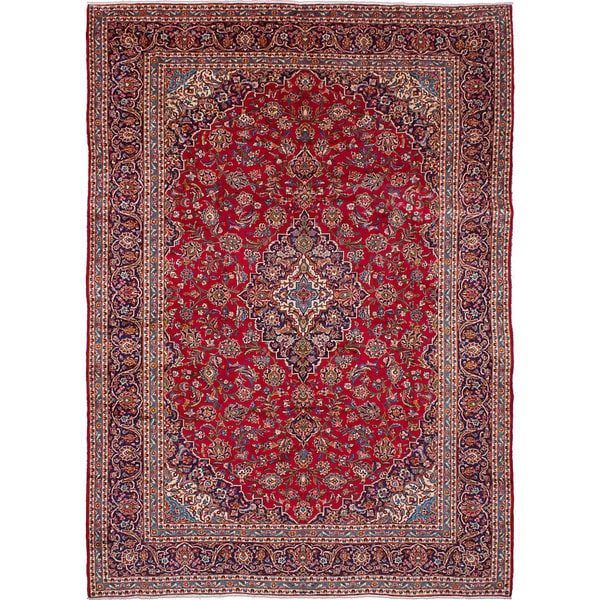Shop Ecarpetgallery Hand Knotted Persian Kashan Red Wool: Shop ECarpetGallery Hand-knotted Kashan Red Wool Rug (9'8
