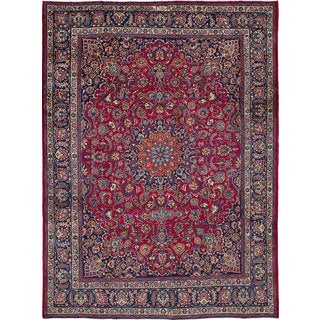 eCarpetGallery Red Wool Hand-knotted Mashad Rug (9'11 x 13'3)