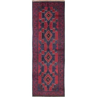 eCarpetGallery Hand-knotted Royal Baluch Blue/Red Wool Rug (4'0 x 11'10)