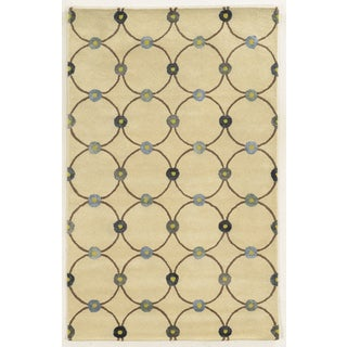 Rizzy Home Gillespie Avenue Ivory/Blue Viscose/Cotton/Wool Hand-tufted Accent Runner Rug (2'6 x 8')