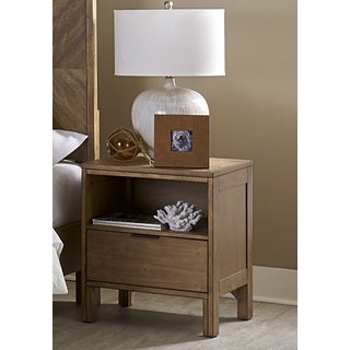 Progressive Strategy Brown Wood, Veneer and MDF Nightstand