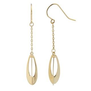"Fremada 14k Yellow Gold Three Dimensional Teardrop Dangle Earrings, 1.75"""