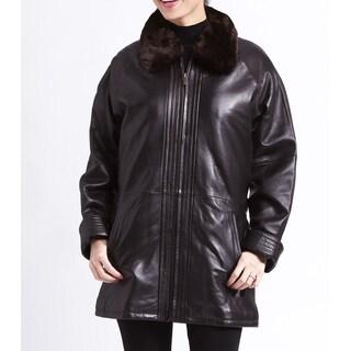 Women's Brown Lambskin Belted Jacket