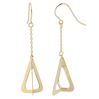 Fremada 14k Yellow Gold Three Dimensional Triangle Dangle Earrings, 1.75""