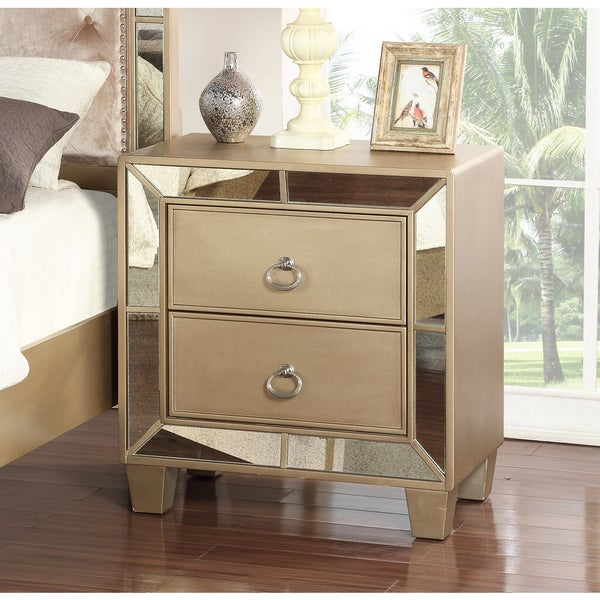 Exceptionnel Abbyson Chateau Goldtone Wood Mirrored 2 Drawer Nightstand
