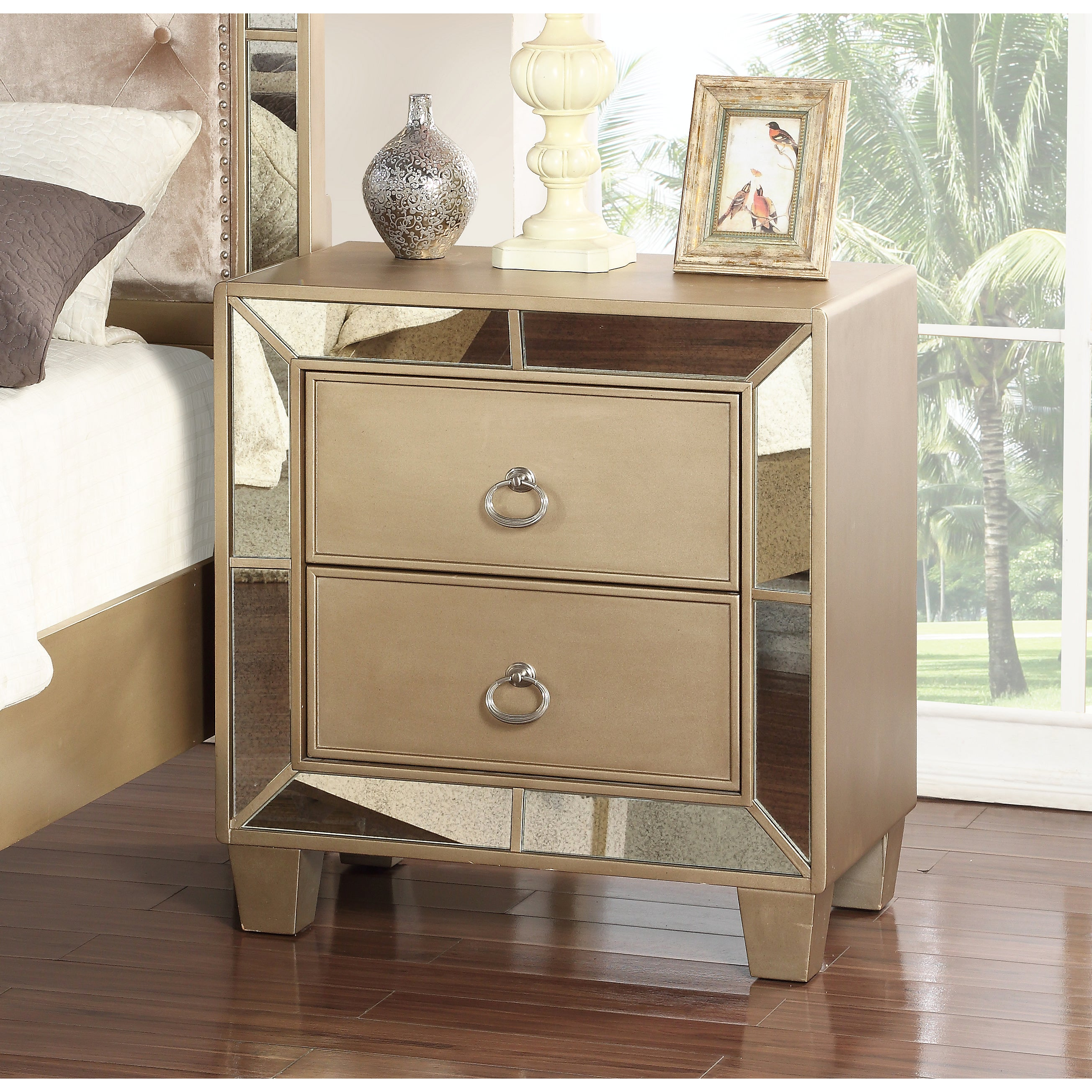 Abbyson Chateau Goldtone Wood Mirrored 2 Drawer Nightstand