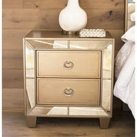 Abbyson Chateau Goldtone Wood Mirrored 2-Drawer Nightstand