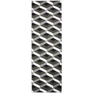 Rizzy Home Country Accent Rug Collection Black/Grey Wool Runner (2'6 x 8')