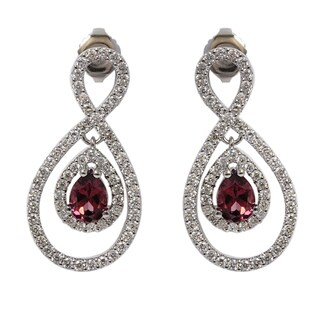 Sonia Bitton 14k White Gold 1 2/5ct Rhodolite and Diamond Dangle Earrings
