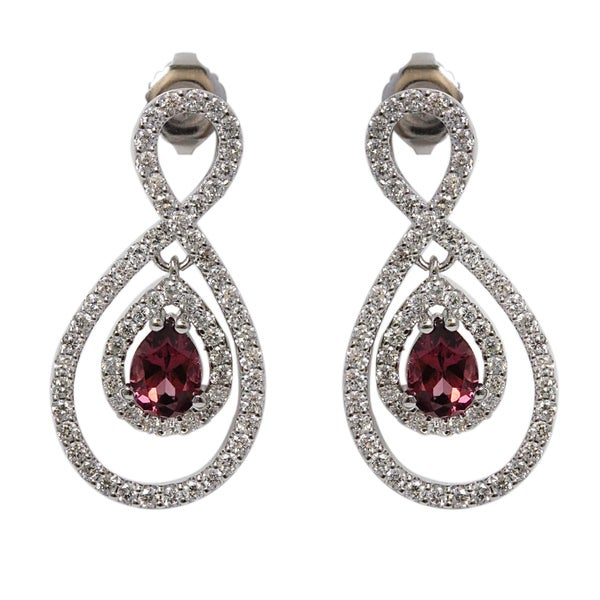 Sonia Bitton 14k White Gold 1 2/5ct Rhodolite and Diamond Dangle Earrings