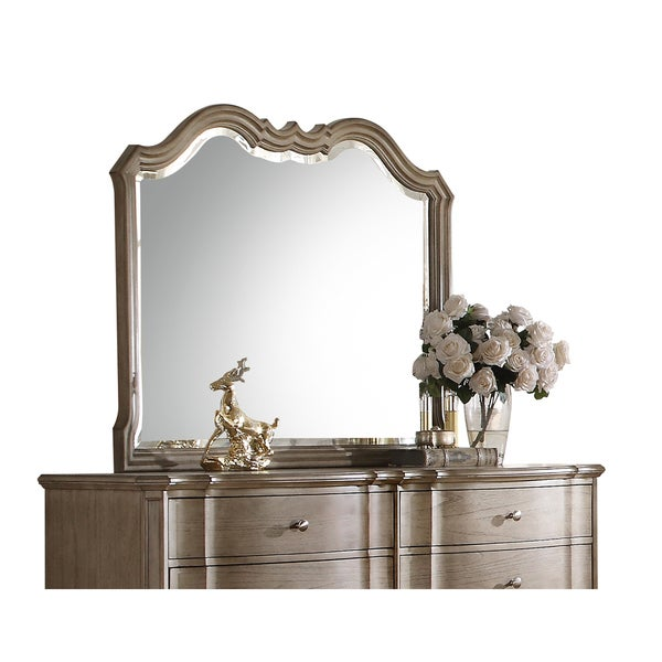 Acme Furniture Chelmsford Antique Taupe Beveled Mirror - Tan