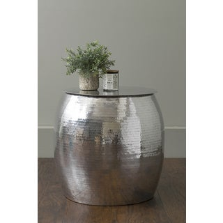 East At Main's Lynette Silver Aluminum Round Accent Table