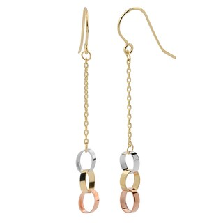 Fremada 14k Tri-color Gold High Polish Circles Dangle Earrings, 1.5-inch
