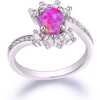 Rhodium Plated Pink Fire Opal Cubic Zirconia Engagement Ring - White