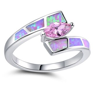 Rhodium Plated Pink Cubic Zirconia and Fire Opal Ring