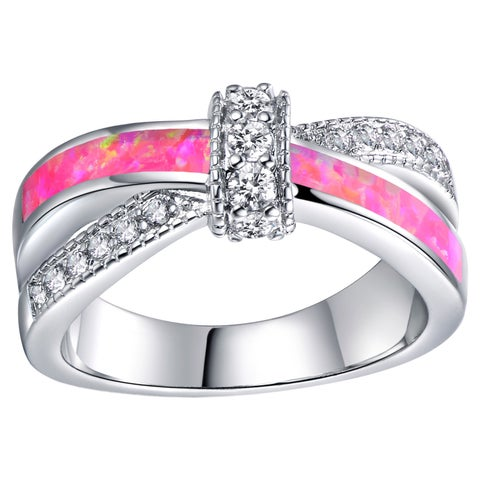 Rhodium Plated and Pink Opal Crisscross Ring - White