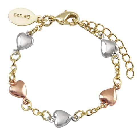 Luxiro Tri-color Gold Finish Children's Flat Hearts Bracelet - Silver